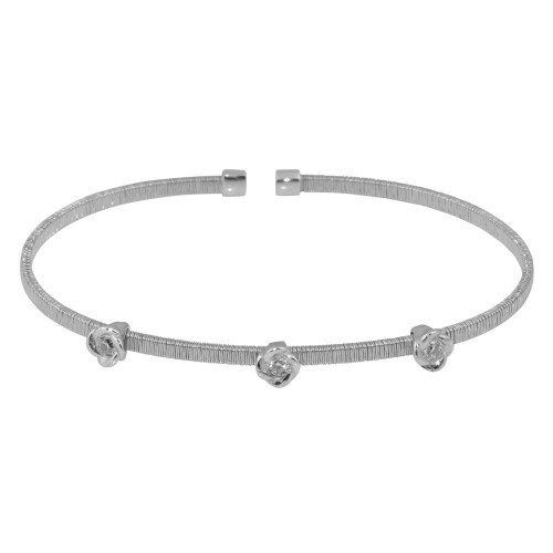 Wholesale Sterling Silver 925 Rhodium Plated Three Rose Cuffs with CZ - ARB00008RH