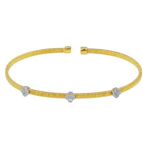 Wholesale Sterling Silver 925 Gold Plated Three Clover Cuffs with CZ- ARB00009GP
