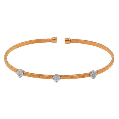 Wholesale Sterling Silver 925 Rose Gold Plated Three Heart Open Bangle with CZ - ARB00006RGP