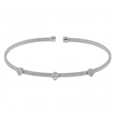 Wholesale Sterling Silver 925 Rhodium Plated Three Clover Open Bangle with CZ - ARB00009RH