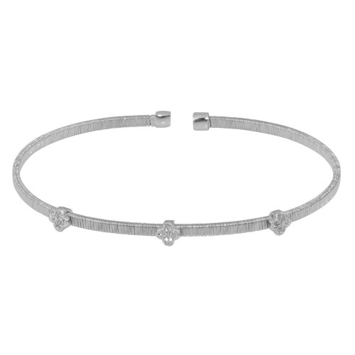 Wholesale Sterling Silver 925 Rhodium Plated CZ Open Bangle - STB00195