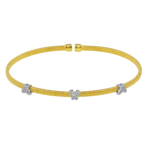 Wholesale Sterling Silver 925 Gold Plated Three Butterfly Open Bangle with CZ - ARB00010GP