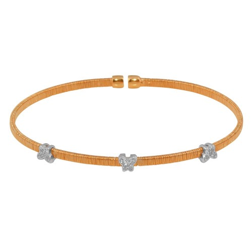 Wholesale Sterling Silver 925 Rose Gold Plated Three Butterfly Open Bangle with CZ - ARB00010RGP
