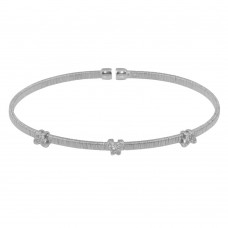 Wholesale Sterling Silver 925 Rhodium Plated Three Butterfly Open Bangle with CZ - ARB00010RH