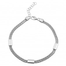 Wholesale Sterling Silver 925 Rhodium Plated Double Chain Bracelet with Links - ARB00012