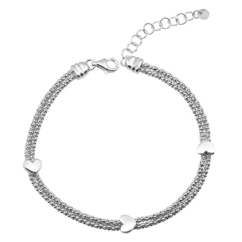 Wholesale Sterling Silver 925 Rhodium Plated Heart Double Chain Bracelets - ARB00013RH