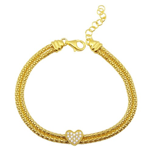 Wholesale Sterling Silver 925 Gold Plated Heart and Double Chain Bracelet with CZ - ARB00016GP