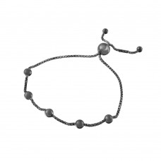 Wholesale Sterling Silver 925 Black Rhodium Plated 8 Beaded Italian Lariat Bracelets - ARB00017BLK