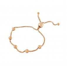 Wholesale Sterling Silver 925 Rose Gold Plated 8 Beaded Italian Lariat Bracelets - ARB00017RGP