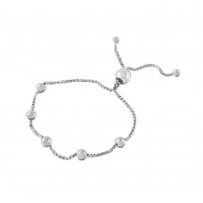 Wholesale Sterling Silver 925 Rhodium Plated 8 Beaded Italian Lariat Bracelet - ARB00017RH