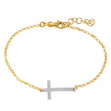 Wholesale Sterling Silver 925 Gold Plated Italian Rolo Chain with Rhodium Plated Cross Bracelet - ARB00020GP