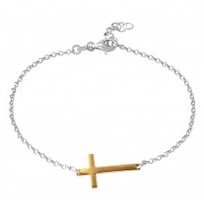 Wholesale Sterling Silver 925 Rhodium Plated Italian Rolo Chain with Gold Plated Cross Bracelet - ARB00020RH-GP