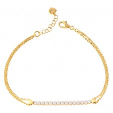 Wholesale Sterling Silver 925 Gold Plated CZ Center Chain Bracelets - ARB00021GP
