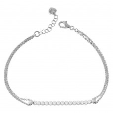 Wholesale Sterling Silver 925 Rhodium Plated CZ Center Chain Bracelet - ARB00021RH