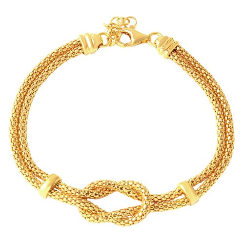 Wholesale Sterling Silver 925 Gold Plated Knot and Bar Bracelet - ARB00022GP