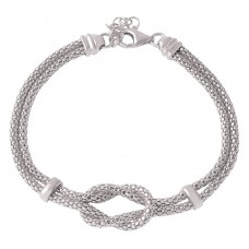 Wholesale Sterling Silver 925 Rhodium Plated Knot and Bar Bracelets - ARB00022RH