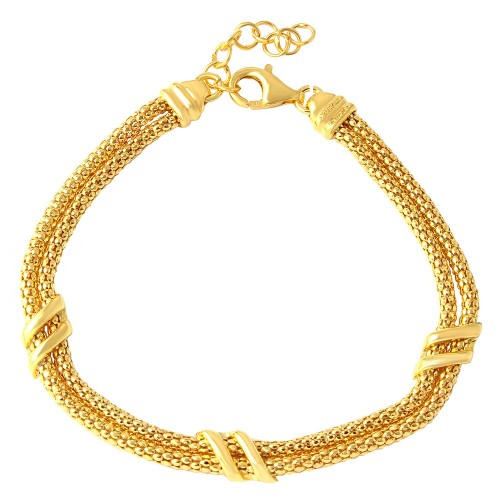 Wholesale Sterling Silver 925 Gold Plated 6 Bar Italian Bracelets - ARB00023GP