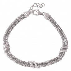 Wholesale Sterling Silver 925 Rhodium Plated 6 Bar Italian Bracelets - ARB00023RH