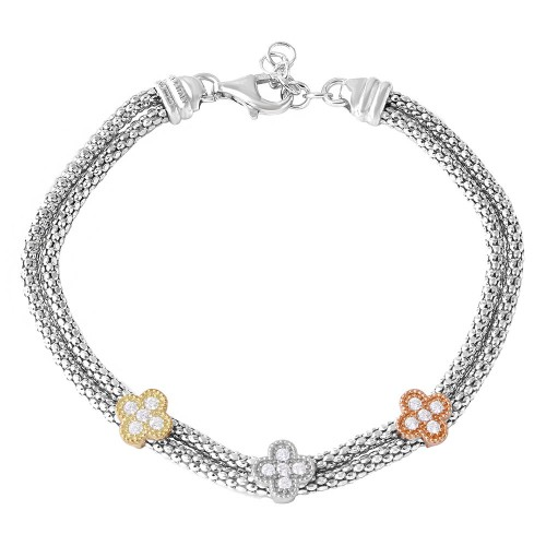 Sterling silver Rhodium Plated 3 Toned Clover CZ Leaves Bracelet - ARB00024TRI