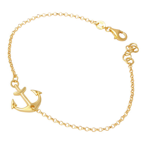Wholesale Sterling Silver 925 Gold Plated Anchor Chain Bracelets - ARB00025GP