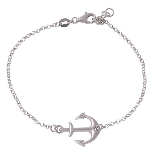 Wholesale Sterling Silver 925 Rhodium Plated Anchor Chain Bracelets - ARB00025RH
