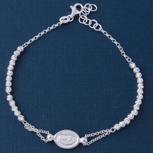 Wholesale Sterling Silver 925 Diamond Cut Beads with Religious Medallion Charm Bracelets - ARB00026