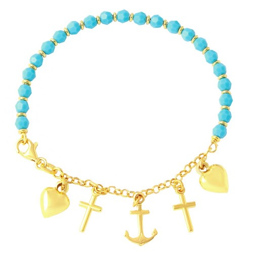 Wholesale Sterling Silver 925 Gold Plated Charm Bracelet with Turquoise Beads - ARB00028GP