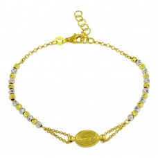 Sterling Silver Gold Plated Lady of Guadalupe Beaded Bracelet - ARB00029GP