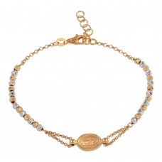 Sterling Silver Rose Gold Plated Lady of Guadalupe Beaded Bracelet - ARB00029RGP