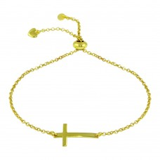 Wholesale Sterling Silver 925 Gold Plated Horizontal Cross Bracelet with Heart Charms - ARB00031GP