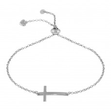 Wholesale Sterling Silver 925 Rhodium Plated Horizontal Cross Bracelet with Heart Charm - ARB00031RH