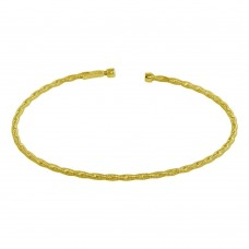 Wholesale Sterling Silver 925 Gold Plated Twisted Thin Rope Bangles - ARB00034GP