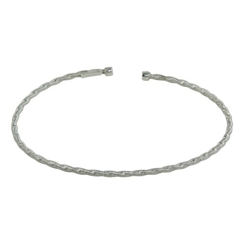 Wholesale Sterling Silver 925 Rhodium Plated Twisted Thin Rope Bangles - ARB00034RH