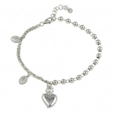 Wholesale Sterling Silver 925 Rhodium Plated Lady of Guadalupe Bead Bracelet with Heart Charms - ARB00036RH