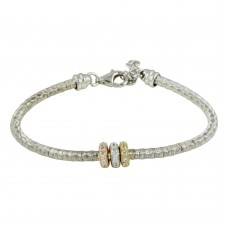 Wholesale Sterling Silver 925 Rhodium Plated Tri Color Bead Bracelet with CZ - ARB00040TRI