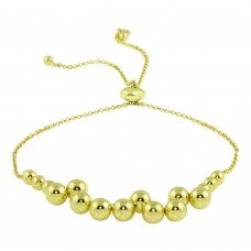 Wholesale Sterling Silver 925 Gold Plated Bead Bracelets - ARB00041GP