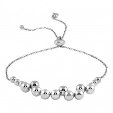 Wholesale Sterling Silver 925 Rhodium Plated Bead Bracelets - ARB00041RH