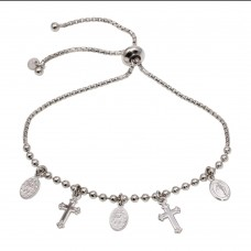 Wholesale Sterling Silver 925 Rhodium Plated Medallion and Cross Charm Bracelets - ARB00049RH