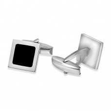 Sterling Silver Rhodium Plated Square Black Enamel Cufflink - ARC00001