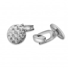 Sterling Silver Rhodium Plated Round DC Weave Design Cufflink - ARC00003