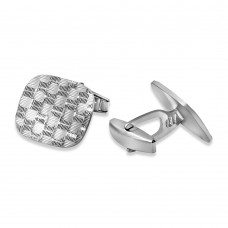 Sterling Silver Rhodium Plated Rounded Rectangle DC Weave Design Cufflink - ARC00004