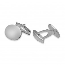Sterling Silver Rhodium Plated Engravable Plain Oval Cufflink - ARC00005