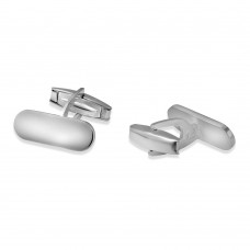 Sterling Silver Rhodium Plated Small Rounded Rectangle Engraveable Plain Cufflink - ARC00006