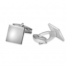 Sterling Silver Rhodium Plated Plain Engravable Square Cufflink - ARC00007