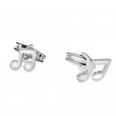 Sterling Silver Rhodium Plated Plain Music Note Cufflink - ARC00009