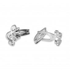 Wholesale Sterling Silver 925 Rhodium Plated Plain Music G Clef Cufflink - ARC00010