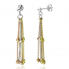 Wholesale Sterling Silver 925 3 Toned Dangling Beaded Stands Earrings - ARE00001TRI