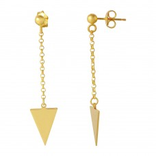 Wholesale Sterling Silver 925 Gold Plated Hanging Triangle Earrings - ARE00006GP