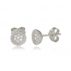 Wholesale Sterling Silver 925 Rhodium Plated CZ Encrusted Bowl Shape Stud Earrings - ARE00008RH