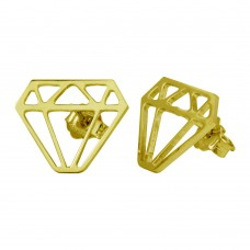 Wholesale Sterling Silver 925 Gold Plated Diamond Earrings - ARE00009GP